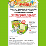 Articles4Newbies Article Marketing ebook home page full-size image