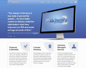 AlchemySocial.com FB Ads Management Software home page full size image