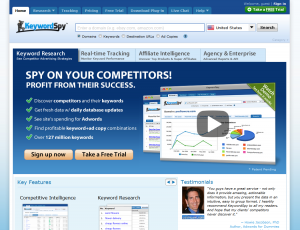 KeywordSpy.com Adwords Keyword Software full-size homepage image