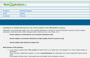 WebLogAnalyzer.biz AllSubmitter Directory Submission Software overview page full size image