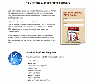 UltimateDemon.com Directory Submission Software home page full size image