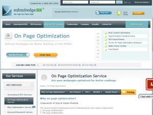 SubmitEdgeSEO On-Page SEO Service (SubmitEdgeSEO.com/on-page-optimization) overview page full size image